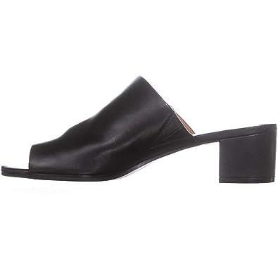 00771207e0 Calvin Klein Womens Daria Leather Block Heel Dress Sandals Black 5 Medium (B ,M
