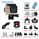 TEBERBOOM Sport Action Camera, Waterproof Sport Camera S2R WiFi 4k Ultra HD 170 Degree Wide View Angle,100ft Underwater and Mounting Accessories Kit with Wireless Control (Gold) For Sale