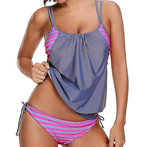 (Joywow Women's Two Piece Stripes Swimsuit Racerback Bikini Set with Panty Sporty Double Up Tankini Swimsuits Lined Up Swimwear (US 8-10 (Tag L), B Grey Swimsuit))