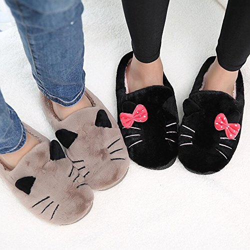 Eastlion Cartoon Cat Home Unisex Slippers Couples Fashion Warm Indoor Plush Slippers Male Brown hordcifzz