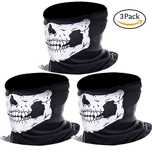 Bicycle Friendly Costumes (MKLOT 3Pcs Motorcycle Face Masks Skull Mask Half Tube Skeleton Face for Out Riding Motorcycle Bicycle Halloween Party - Black)