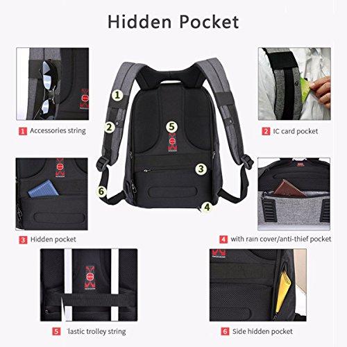 Kopack Anti-Diebstahl Laptop Rucksack mit USB Ladestation 15,6 Zoll wasserdicht Checkpoint Freundlich Geschäftsreisen Rucksack mit Regen Abdeckung Grau