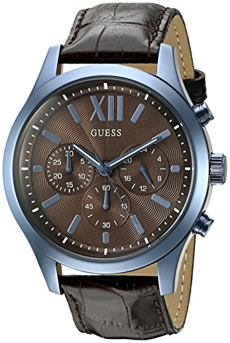 GUESS Men's U0789G2 Iconic Sky Blue Multifunction Watch with Brown Genuine Leather (Guess Gc Men Watch)