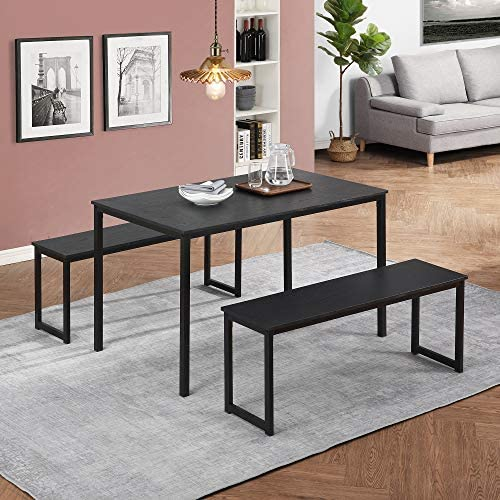 3 Piece Dining Set, Kitchen Table with Benches...