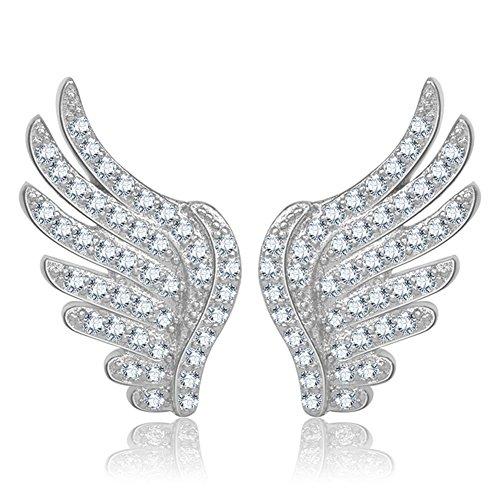 Women's 925 Sterling Silver Angel Wings Full of Cz Earring Best Gifts for Girlfriend ()