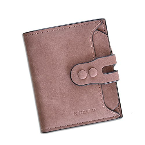 LUI SUI Women's RFID Blocking PU Matte Leather Wallet Card Holder Organizer Coin Purse with Buckle Closure, Rfid Blocking_purple, Small ()