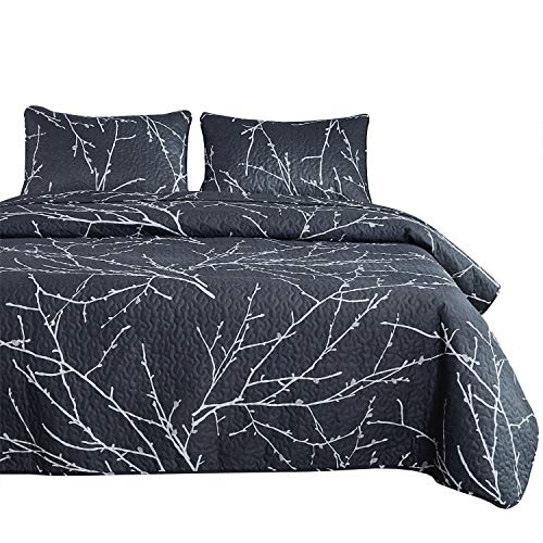 (Wake In Cloud - Branches Quilt Set, Dark Gray Grey Charcoal with Tree Pattern Printed, Soft Microfiber Bedspread Coverlet Bedding (3pcs, Queen Size) )