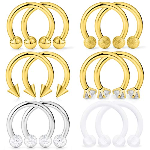 (Hoeudjo Septum Hoop Nose Ring 16G Surgical Steel Circular Horseshoe Rings Piercing Jewelry with Cubic Zirconia Cartilage Helix Earring Barbell Retainer for Women Men 12 Pieces 8mm Gold)