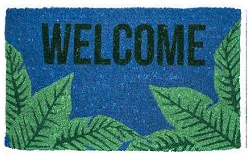 """DOOR MATS - TROPICAL PALM FRONDS COIR DOORMAT - 18"""" X 30"""" - WELCOME MAT"""