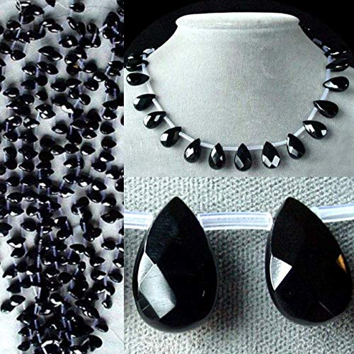 (2 Elegant Natural Onyx Faceted 16x10mm Briolette Beads for Jewelry Making 4852 )