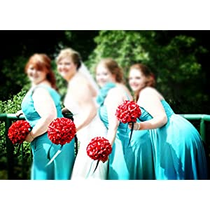 Angel Isabella 13pc Apple Red with Black Ribbon Wedding Flowers Package Bouquet, Boutonniere, Corsages