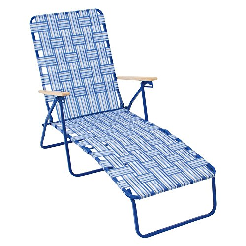 Hardwood Chaise (Rio Brands Rio Deluxe Folding Web Chaise Lounge Chair)
