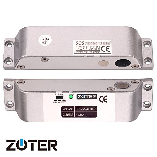 ZOTER Electric Bolt Door Lock, Deadbolt Low Temperature Surface Mounted DC 12V Fail Safe NC Mode