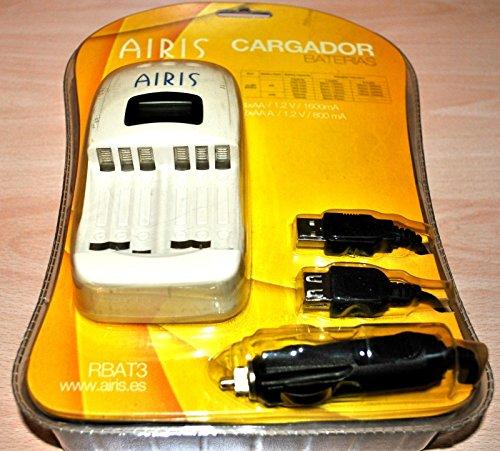 Cargador de batería AIRIS de casa, coche y USB, para 4 x AA ...