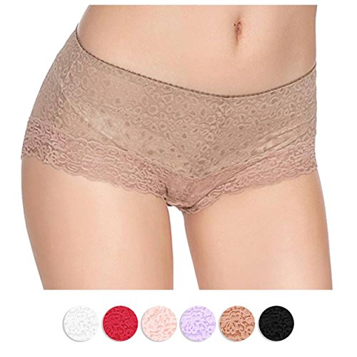 Lily Everyday Panties Floral Lace Sliming Brief Sexy Lingerie Underwear for Women - Nude - 2XL