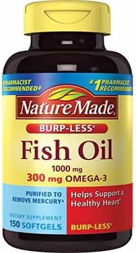Nature Made Burpless Fish Oil 1000 mg w. Omega-3 300 mg Softgels 150 Ct