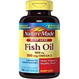 Nature Made Burpless Fish Oil 1000 mg w. Omega-3 300 mg Softgels 150 Ct For Sale