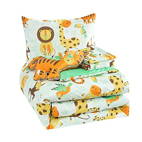 WPM Kids Collection Bedding 5 Piece White Green Safari Forest Jungle Print Full Size Comforter Set with Sheet Pillow sham and Furry Toy Fun Tiger Monkey Theme Design (Safari Life, Full Comforter)