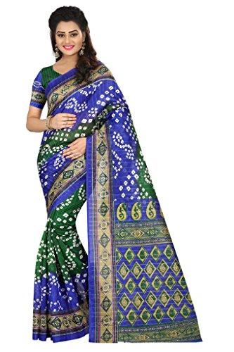 y Wear Bandhani Bhaglpuri Art Silk Printed Saree Sari (Green & Blue) ()