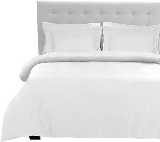 1200 hilos juego de sábanas con sábana bajera ajustable (blanco sólido, Reino Unido tamaño Super King