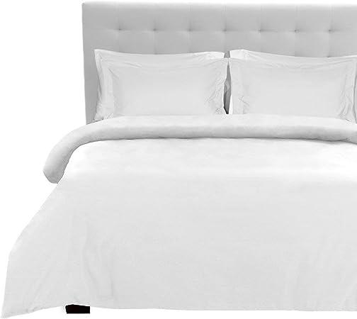 Juego de sábanas de algodón egipcio de 800 hilos en color blanco sólido, alta calidad en tamaño King size, 180 x 200 cm: Amazon.es: Hogar