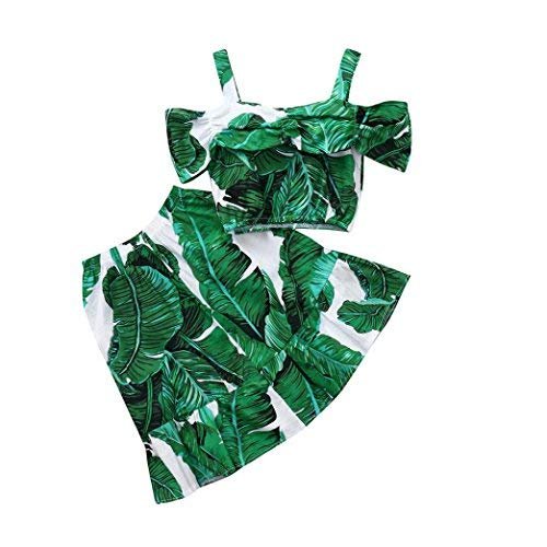 Pollyhb Baby Girl Cloth Sets, Toddler Kids Print Banana Leaf Tops+Skirt Set Outfit Clothes (1-5 Years) (2-3 Years, Green)