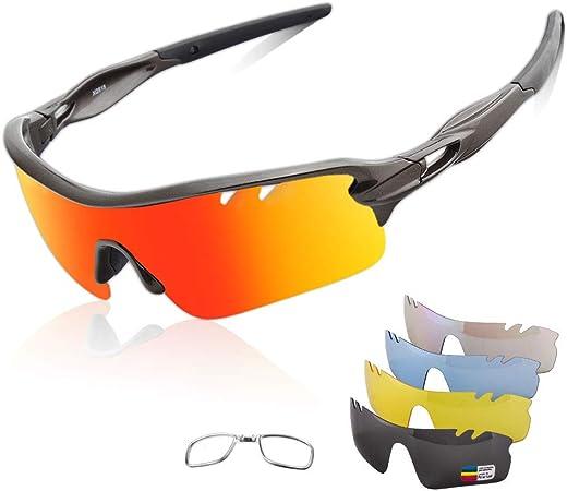 Occhiali Da Sole Sportivi Anti-UV 400 Protezione Ciclismo Occhiali Da Sole Con 5 Lenti Intercambiabili,Uomo E Donna Antivento Aviatore Specchio Per MTB,Bici,Moto,Trekking Casual,D