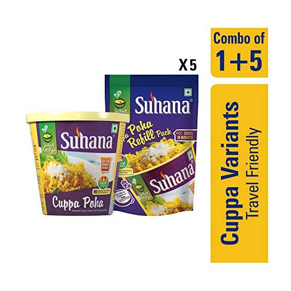Suhana 1 Cuppa Poha Ready to Eat Instant Breakfast with 5 Refill Pack - Combo of 6
