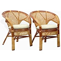 Set of 2 Pelangi Natural Rattan Wicker Dining Armchairs Handmade Design, Cognac
