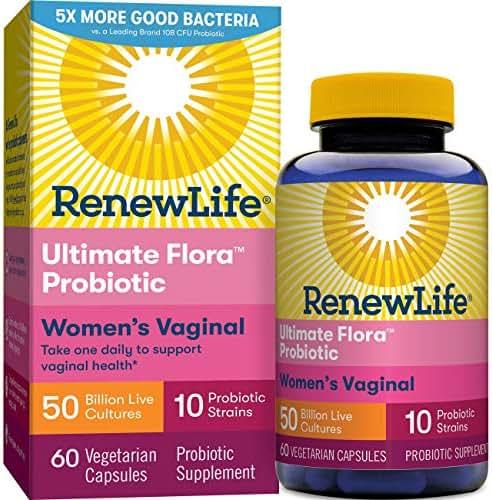 Renew Life Women's Probiotic - Ultimate Flora Probiotic Women's Care, Shelf Stable Probiotic Supplement - 50 Billion - 60 Vegetable Capsules (Packaging May Vary)