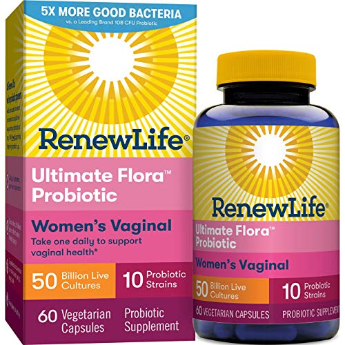 Renew Life Women's Probiotic - Ultimate Flora Probiotic Women's Care, Shelf Stable Probiotic Supplement - 50 Billion - 60 Vegetable Capsules (Packaging May Vary) ()