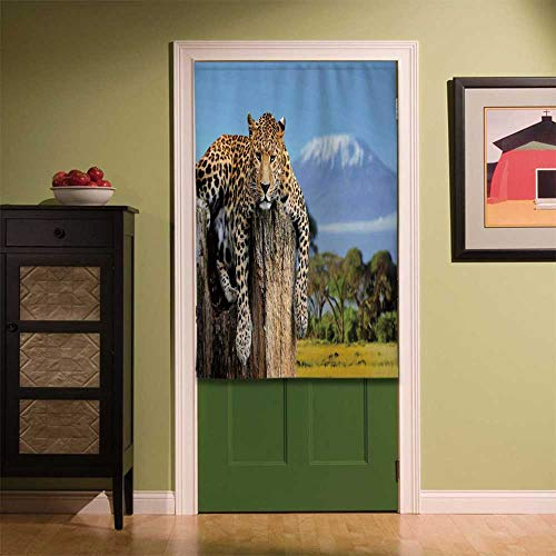 YOLIYANA Wildlife Decor Fabric Art Door Curtain,Leopard Sitting on Tree Trunk with Mountain Range Journey Up Kilimanjaro Scene for Locker Room Store Privacy Space,35.43''W x 55.12''H