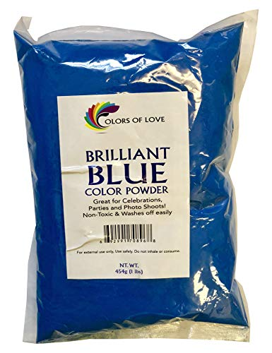 - Colors of Love Blue Holi Color Powder - 1 Pound Bag - Ideal for events, bath bombs, youth group color wars, Holi events and more!