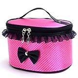 DZT1968® Handle Large Cosmetic Bag Travel Makeup Organizer Case Holder (Hot pink)