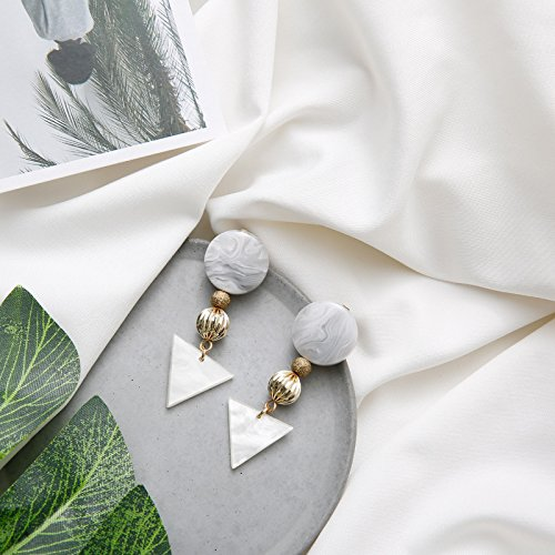TKHNE Minimalist ear earrings exaggerated geometric earrings small ornaments Japan acetic acid white marble triangle vintage earrings resin ()