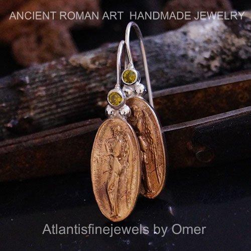 Handmade Designer Chrome Diopside Coin Earrings By Omer 24k Gold over 925 Silver - Designer Diopside Ring