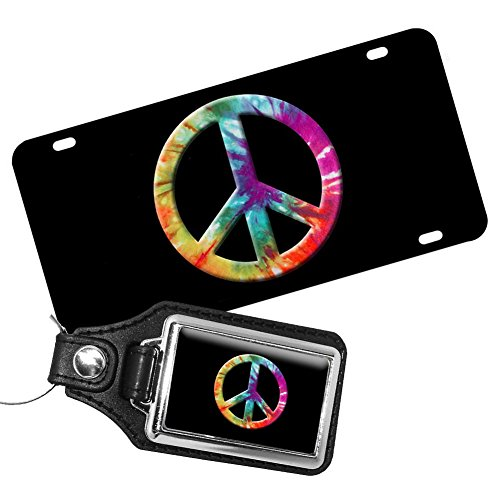 Brotherhood Tie Dyed Psychedelic Peace Sign License Plate and Matching Key ()