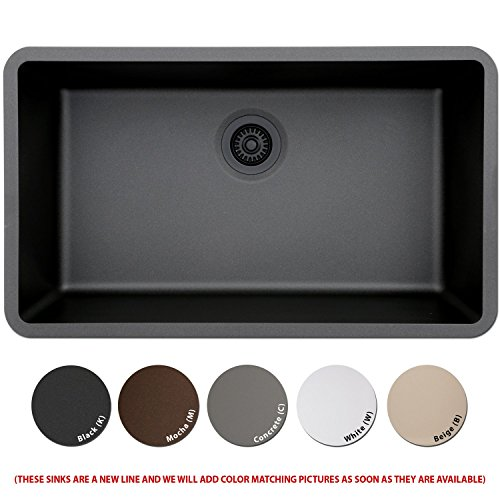 LEXICON Platinum Quartz Composite 32x19-inch Kitchen Sink with Large Single Bowl White White Finish