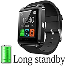 DOESIT Smart Watch, Touch Screen Smart Wrist Watch Bluetooth Smartwatch with Camera Pedometer Sleep Monitor for Samsung, Galaxy Note, Nexus, HTC, Sony Android Phone (U8) (Black-1)