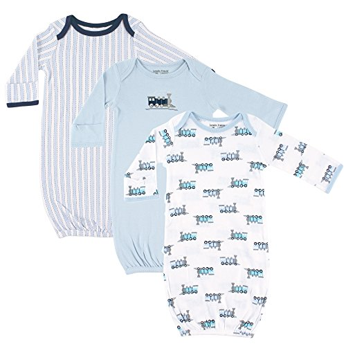 Luvable Friends Unisex Baby Cotton Gowns, Trains 3-Pack, 0-6 Months ()