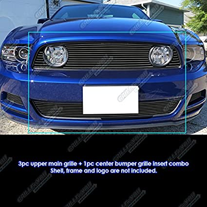Amazon Com Fits 2013 2014 Ford Mustang Gt Black Billet Grille Combo