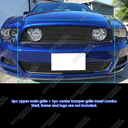 APS Fits 2013-2014 Ford Mustang GT Black Billet Grille Combo -
