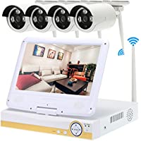 KKmoon 10.1'' 4CH 720P HD WiFi NVR Kit with 4pcs 1.0MP Wireless WiFi Waterproof Outdoor Bullet IP Camera Support HDMI P2P Onvif IR-CUT Night Vision Android/iOS APP Motion Detection Email Alarm