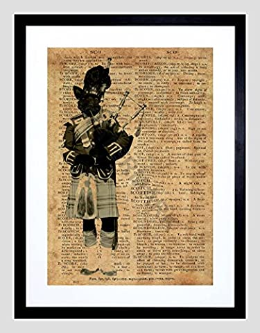 Scottie Dog Piper Scotland Upcycle Dictionary 9x7 Framed Art Print F97X14081 - Scottie Dog Art