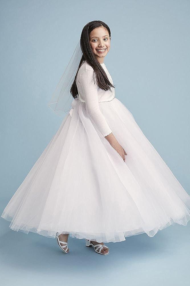 829926fc69 Amazon.com  David s Bridal Flower Girl Communion Ball Gown Flower Girl Communion  Dress with Heart Cutout Style RK1368  Clothing