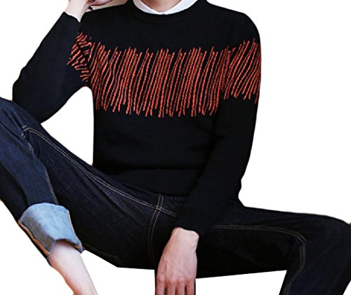 New SportsX Men Long Sleeve Collision Color Scoop Neck Pullover Sweater for sale