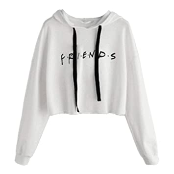 JAGENIE Womens Friends Letter Impreso Hoodies Casual Crop Tops Pullover Sudaderas Suaves: Amazon.es: Hogar
