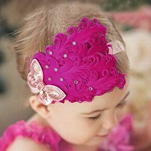 Baby Girls Infant Feather Bow Headband Hairband Hairbow (rose red)