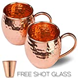 Moscow Mule Copper Mugs Set of 2 - Solid Copper Handcrafted Copper Mugs for Moscow Mule Cocktail - 16 Ounce - Shot Glass Included - Gift Set