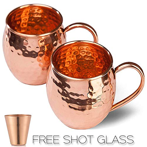 Moscow Mule Copper Mugs Set - FREE 2 Straws and Shot Glass - Set of 2 HandCrafted Food Safe Pure Solid Copper Mugs - Attractive GIFT BOX (Barrel)